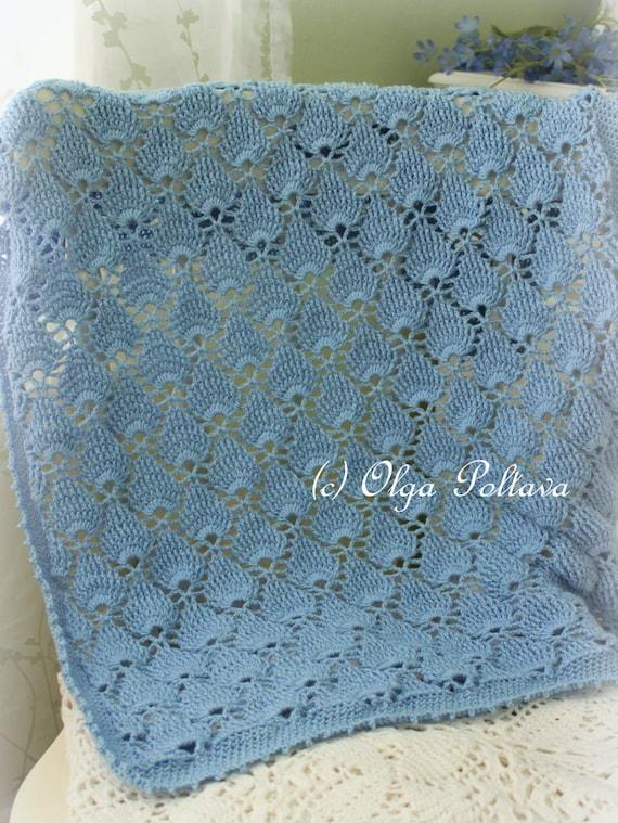 Blue Lace Baby Blanket Crochet Pattern Summer Newborn Afghan Etsy