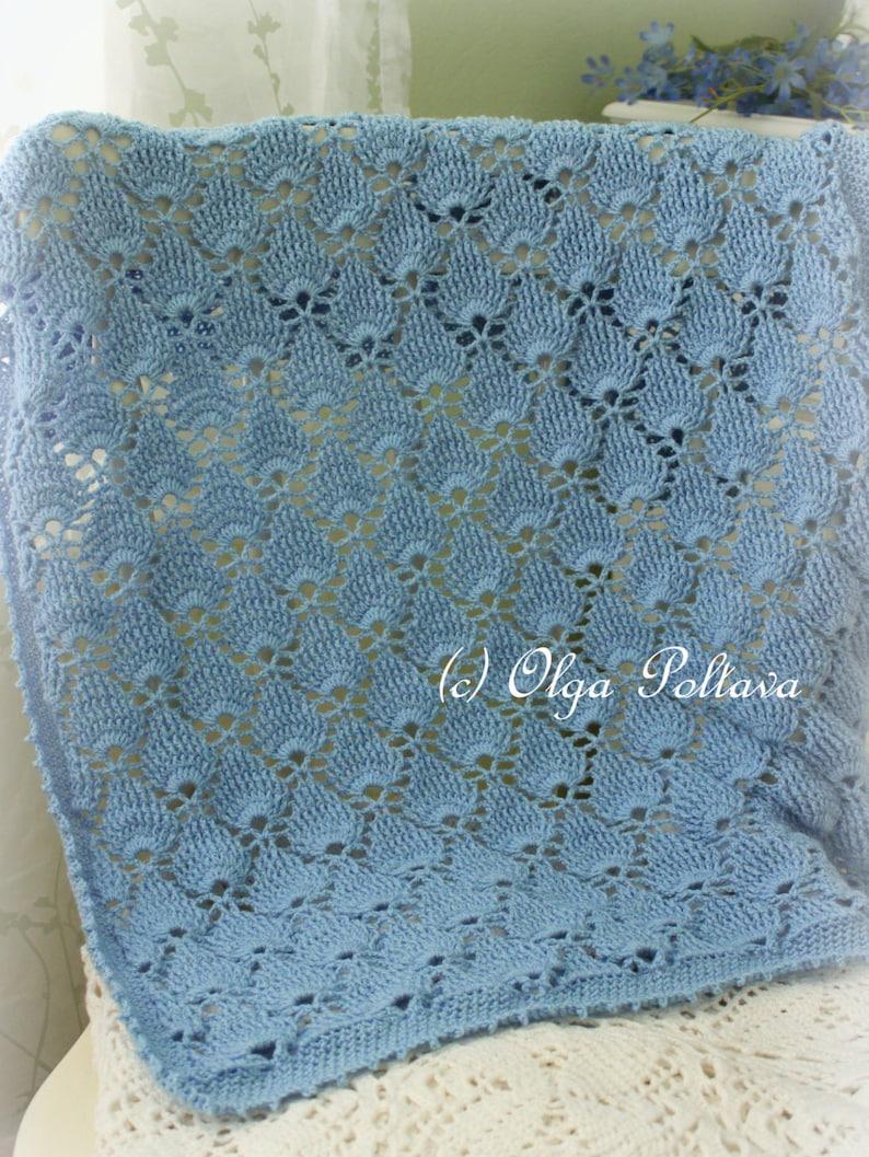Blue Lace Baby Blanket Crochet Pattern Summer Newborn Afghan image 0