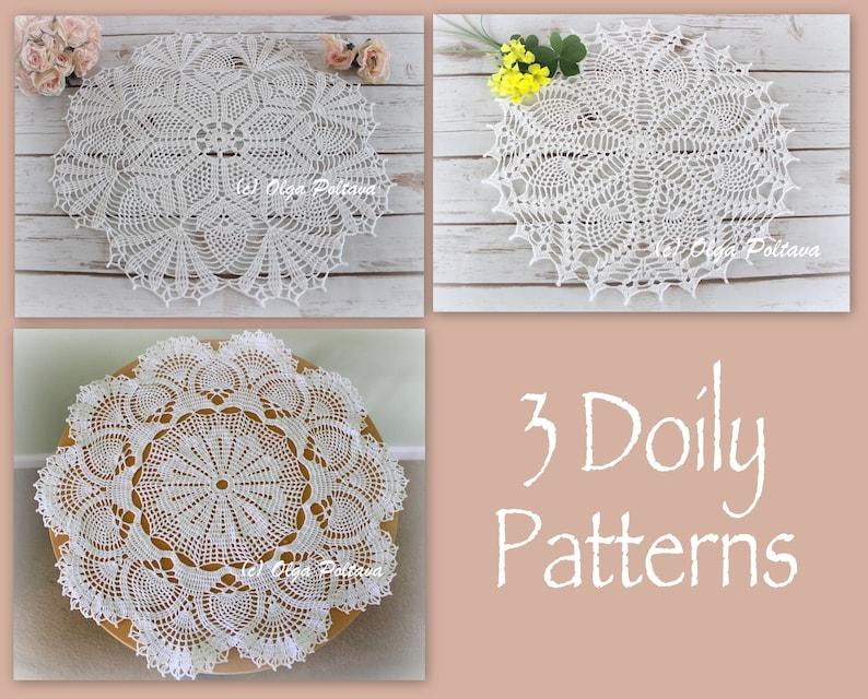 Three Pineapple Doily Patterns 3 Crochet Doily Patterns Etsy