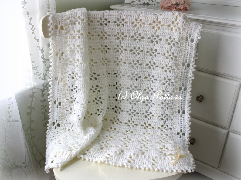 6f302e8427b5 White Lace Baby Blanket Crochet Pattern Baby Afghan Baby