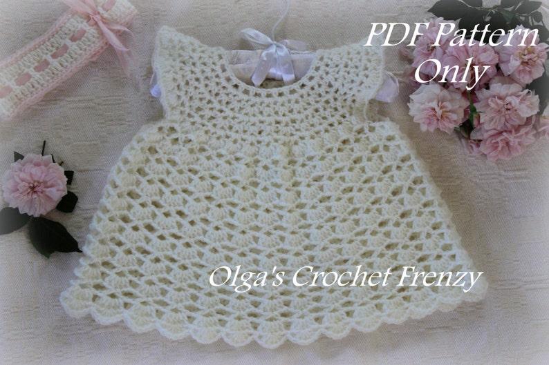 ac2787391 Pinafore Style Lace Baby Dress Crochet Pattern Size 0-3