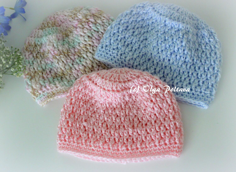 Newborn Baby Beanie Hat Crochet Pattern Size 0 3 Months Boys Etsy
