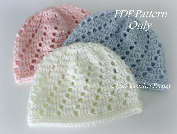 Baby Beanie Hat Crochet Pattern Beginner Skill Level Size Etsy