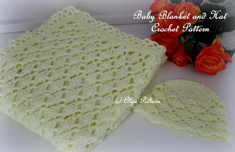 Lacy Shells Baby Blanket and Hat Crochet Patterns Easy to image 0