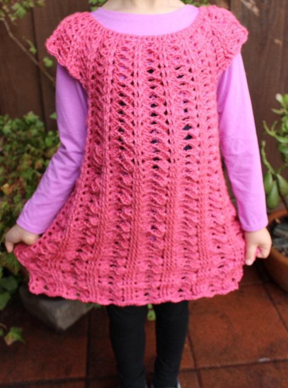 Crochet Girls Dress Pattern Size 5 6 Years Old Easy Crochet Etsy