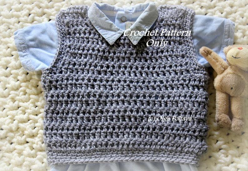 b6cd640de Baby Boy Pullover Vest Crochet Pattern Size 3-6 Months Easy