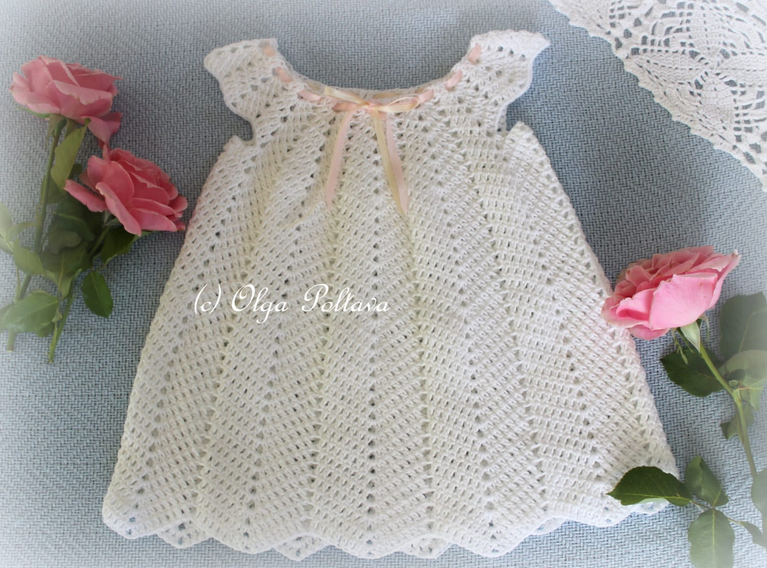 White Ripple Dress Girls Dress Size 12-18 Months Crochet | Etsy