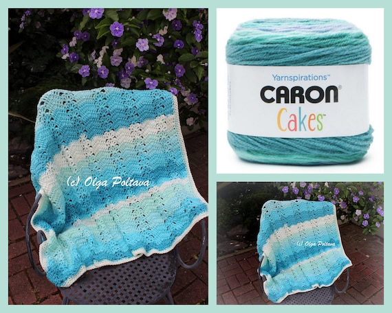 Caron Cakes Ripple And Shells Lapghan Crochet Pattern Easy Etsy