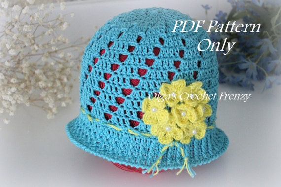 409027edd00 Blue Cloche Hat with Yellow Flowers Crochet Pattern Size 3 to