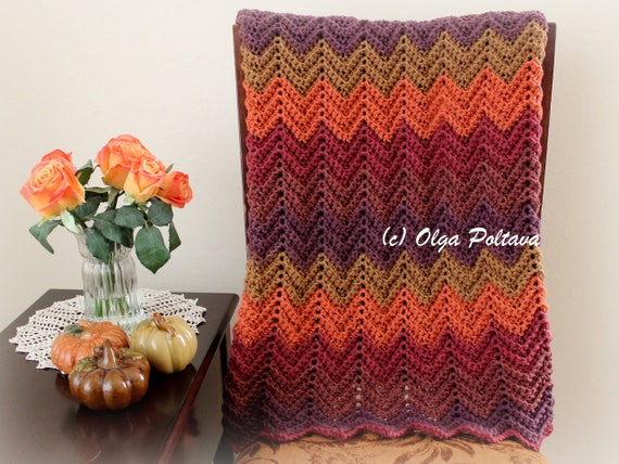 Hello Fall Ripple Lapghan Afghan Baby Blanket Any Size | Etsy