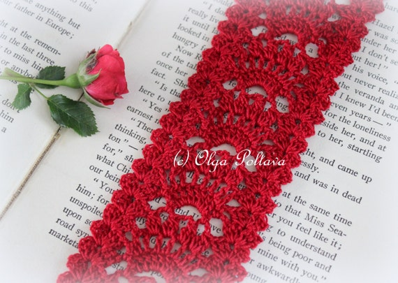 Red Lace Crochet Bookmark Pattern Crochet Lace Edging Etsy