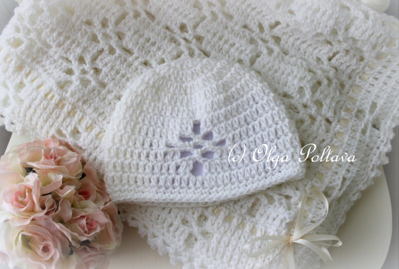 76a10b6e70f7 White Lace Christening Blanket and Baby Hat Crochet Pattern