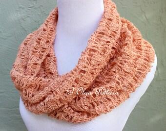 Peach Lace Infinity Scarf Crochet Pattern, Crochet Scarf Easy Crochet Patterns, Instant PDF Download