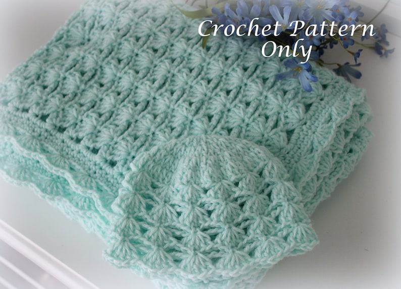 Shells and Chains Baby Blanket and Hat Crochet Patterns Easy image 0