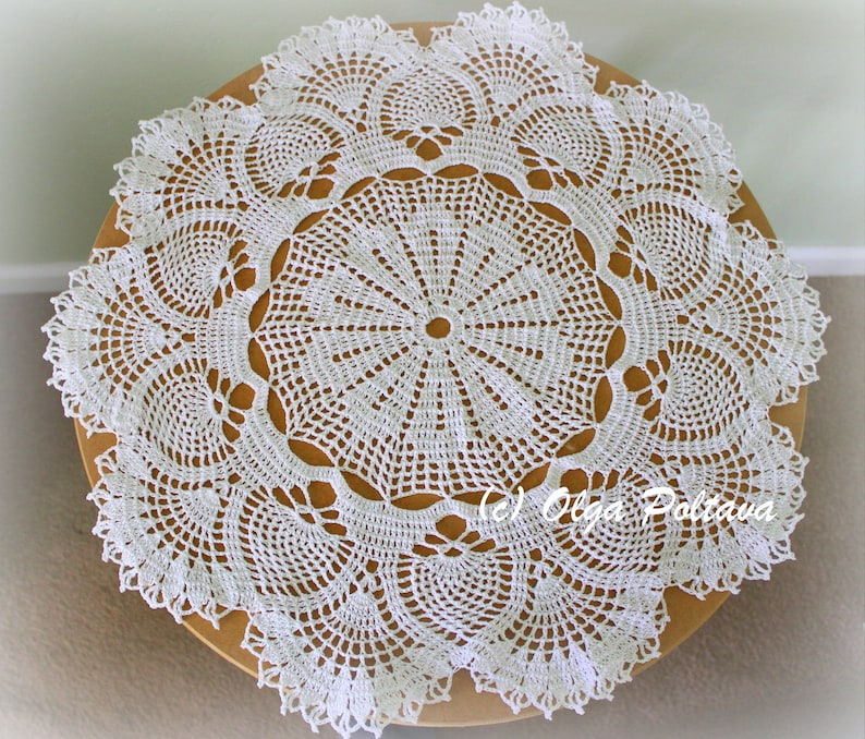 Pineapples And Fans Crochet Doily Pattern Big Doily 21 Etsy