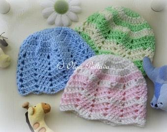 Ripple Baby Beanie Crochet Pattern, Baby Girl and Baby Boy Hat Crochet Pattern, 0-3 Months Baby, Easy Pattern