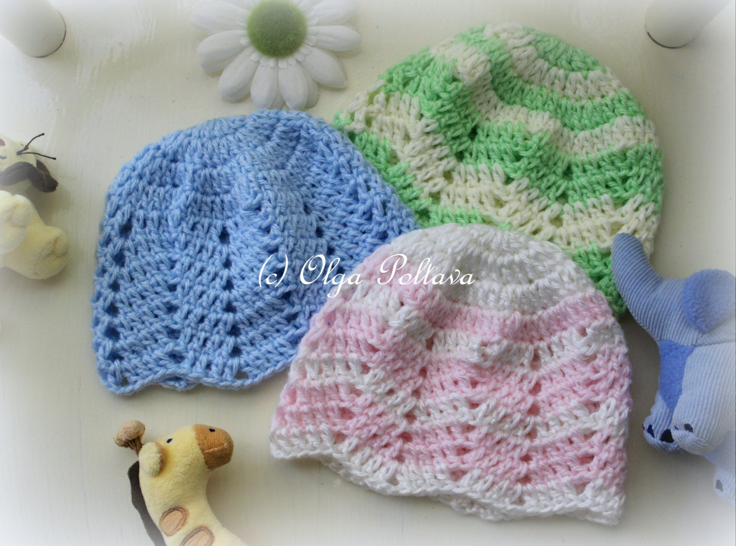 Ripple Baby Beanie Crochet Pattern Baby Girl And Baby Boy Hat Etsy