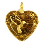 Ammonite with 22k Gold Hummingbird (collaboration with Sacred State Design) - Orgone Pendant