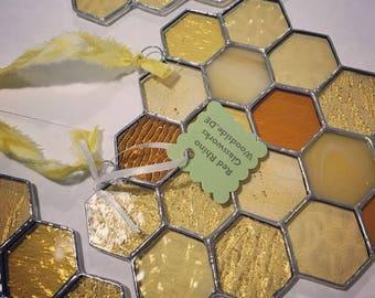 Custom Stained Glass Honeycomb Suncatcher