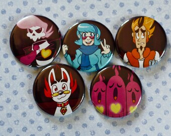 FAN MADE Mystery Skulls Animated (Ghost) button set of 5