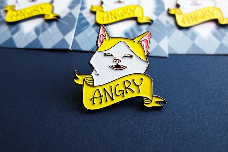 Angry Banana Cat soft enamel pin 1.25 image 0