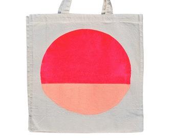 Colourful Spot Tote Bag – cotton market bag beach weekender tote peach bright pink shopping bag