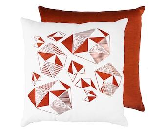 Metallic Copper Pillow – hand print copper cushion cover pattern play handloom artisan cushion geometric pattern