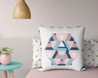 Geometric Aztec Print Throw Pillow – hexagon tribal pastel home decor digital print cushion nursery decor