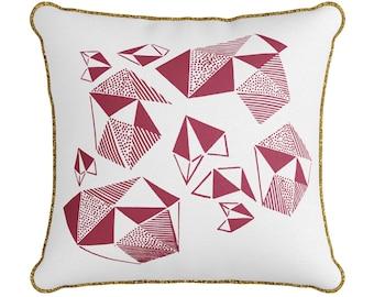 Original Design Fuchsia Pattern Play Throw Pillow – screen print bespoke cushion fuchsia Sri Lankan handloom gifts for girls