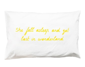 Wonderland Pillowcase – canary yellow alice in wonderland print cotton girls bedlinen screen print words