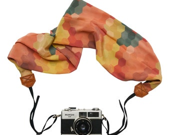 Scarf Camera Strap – hexagon pattern camera accessories travel gear DSLR photography colourful bright scarf