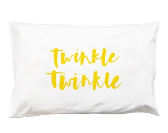 Twinkle Twinkle Pillowcase – yellow twinkle twinkle little star print cotton bedlinen baby bedding kids screen print free shipping