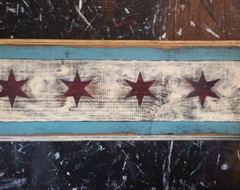 Handcrafted Chicago flag W/ optional key hooks