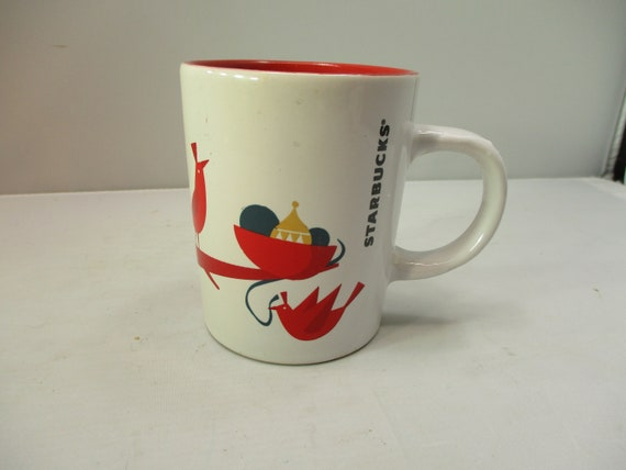 Starbucks Christmas Holiday Red Bird Ornaments Coffee Mug Cup Etsy
