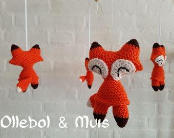 Music mobile, crib mobile, fox mobile, mobile, crochet fox, baby mobile, baby music mobile,