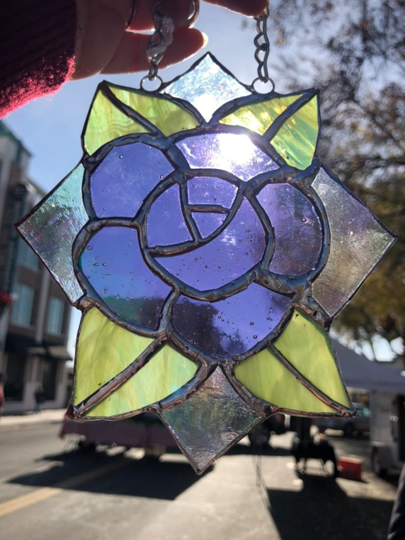 Stained Glass Tattoo Style Irridescent Purple Rose Suncatcher