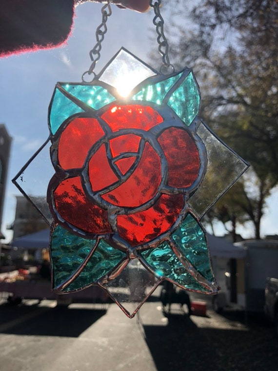 Stained Glass Tattoo Style Red Rose Suncatcher