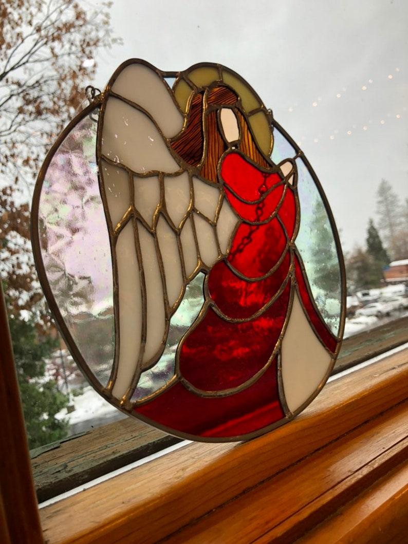 Handmade Bright Deep Red and Iridescent ClearElegant Angel Stained Glass Sun Catcher