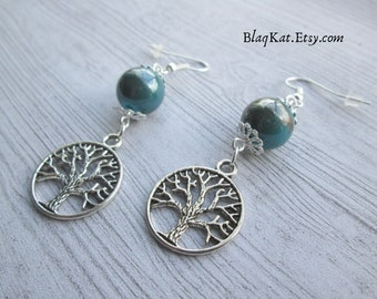World Tree Earrings, Tree of Life Jewellery, Odin Yggdrasil Earrings, Earth Witch Earrings, gift for witches, gift for pagans