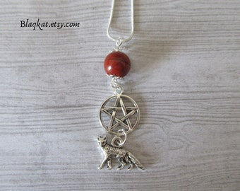 Red Fox Necklace, Fox Totem Necklace, Witch Necklace, Pagan Fox Spirit Animal, Fox spirit guide, Red Jasper FoxPendant, Witch accesories