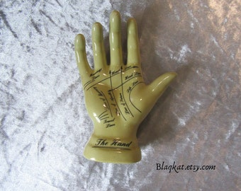 Vintage Chiromancy Palmistry Hand Ornament, Fortune Teller Palm Reader Hand, Chiromancy Hand, Divination Ornament, Palm Reading Instruction
