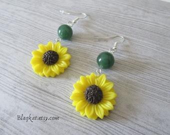 Sunflower Earrings, Summer Witch Earrings, Yellow Sunflower Jewellery, Summer Jewellery, Pagan Flower Jewellery, Sunny Witch Earrings, Wicca