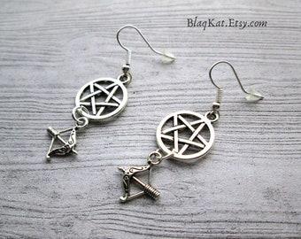 Goddess Artemis Earrings, Pagan earrings, Wiccan earrings, Witch earrings, Greek Goddess, Moon goddess, Goddess Diana, The huntress earrings