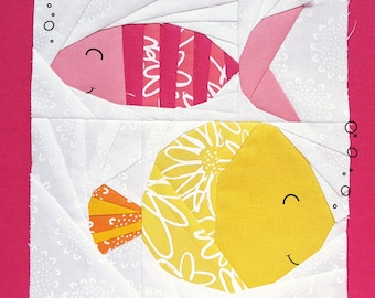 Funky Fishes Fiona and Francine Paper piecing pattern - Quilt block pattern