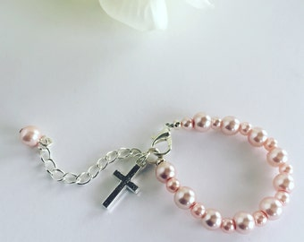 Pink Baby Bracelet, Baby Jewelry, Baptism Gift, Godparent Gift, Baby Baptism Gift, Baptism Bracelet, Goddaughter Gift, Christening Gift