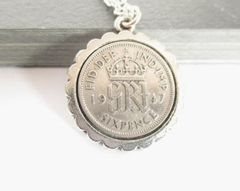 Coin Necklace, Sixpence Necklace, 1947 Birthday, Vintage Coin Necklace, Grandma Gift, Coin Pendant Jewellery, Birthday Year Gift