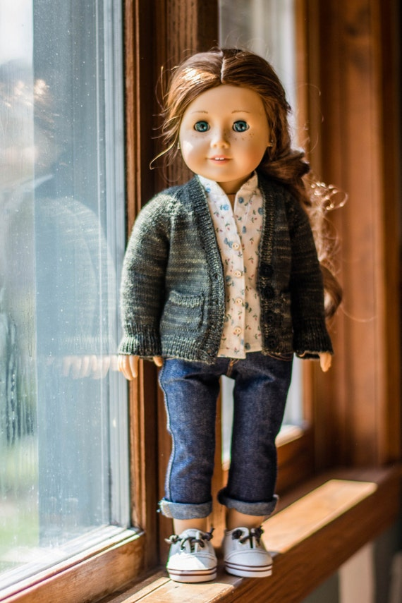 Libby Boyfriend Cardigan Knitting Pattern for 18 Dolls | Etsy