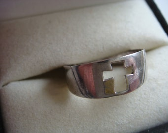 Silver Band with Open Cross