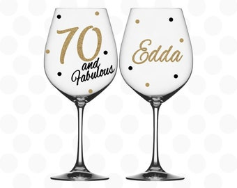 70th Birthday 70 And Fabulous Wine Glass Name Included Gift For Her Year Old Woman