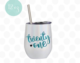 21st Birthday Gift Ideas for her Water Bottle Travel Tumbler With Lid and Straw Gifts for Women Purple 0280